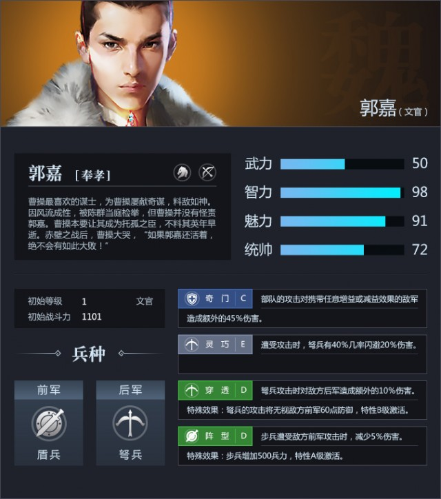 三十六计网页游戏武将郭嘉资料属性