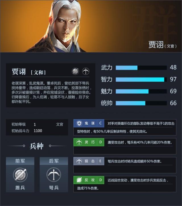 三十六计网页游戏武将贾诩资料属性