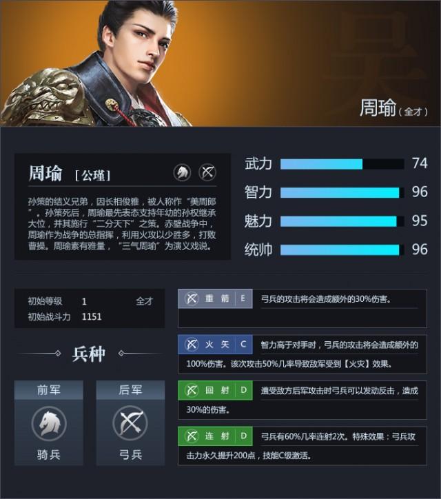 三十六计网页游戏武将周瑜资料属性