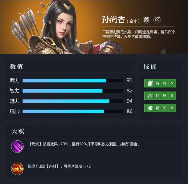 三十六计网页游戏武将孙尚香资料属性