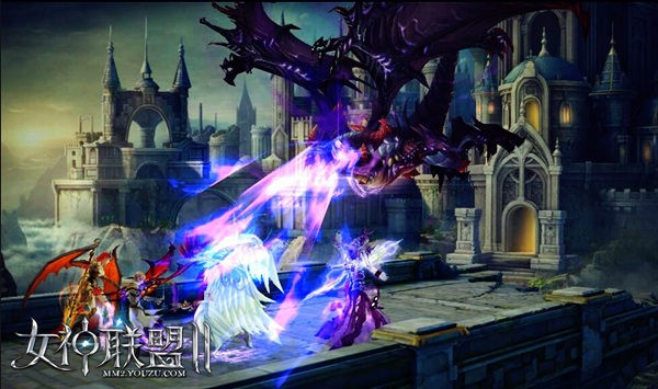 《女神联盟2》黑龙之王变身战斗