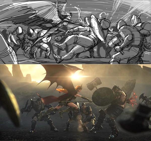 女神联盟品牌CG 分镜稿成品对比图