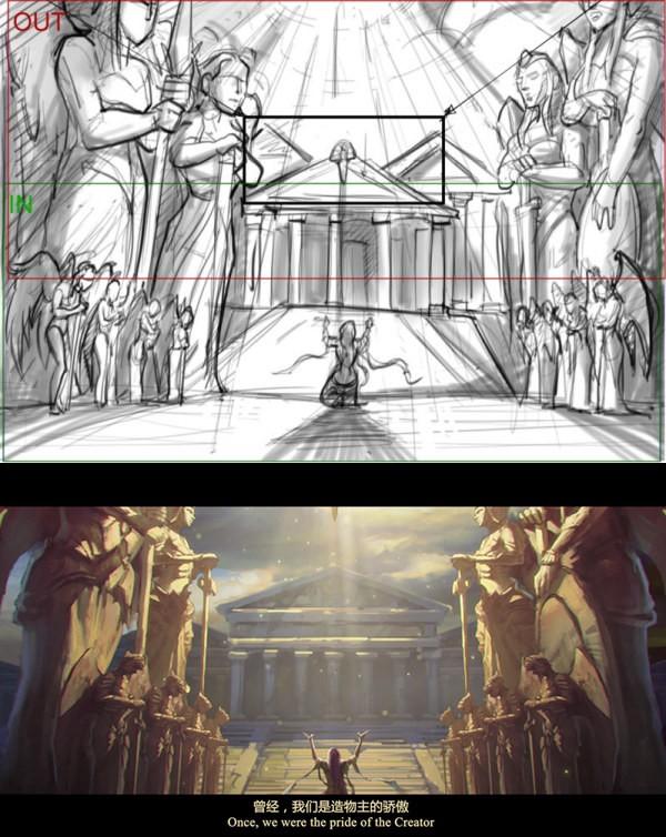 女神联盟品牌CG分镜稿成品对比图