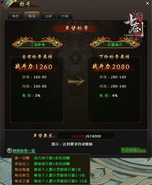 七剑特殊称号